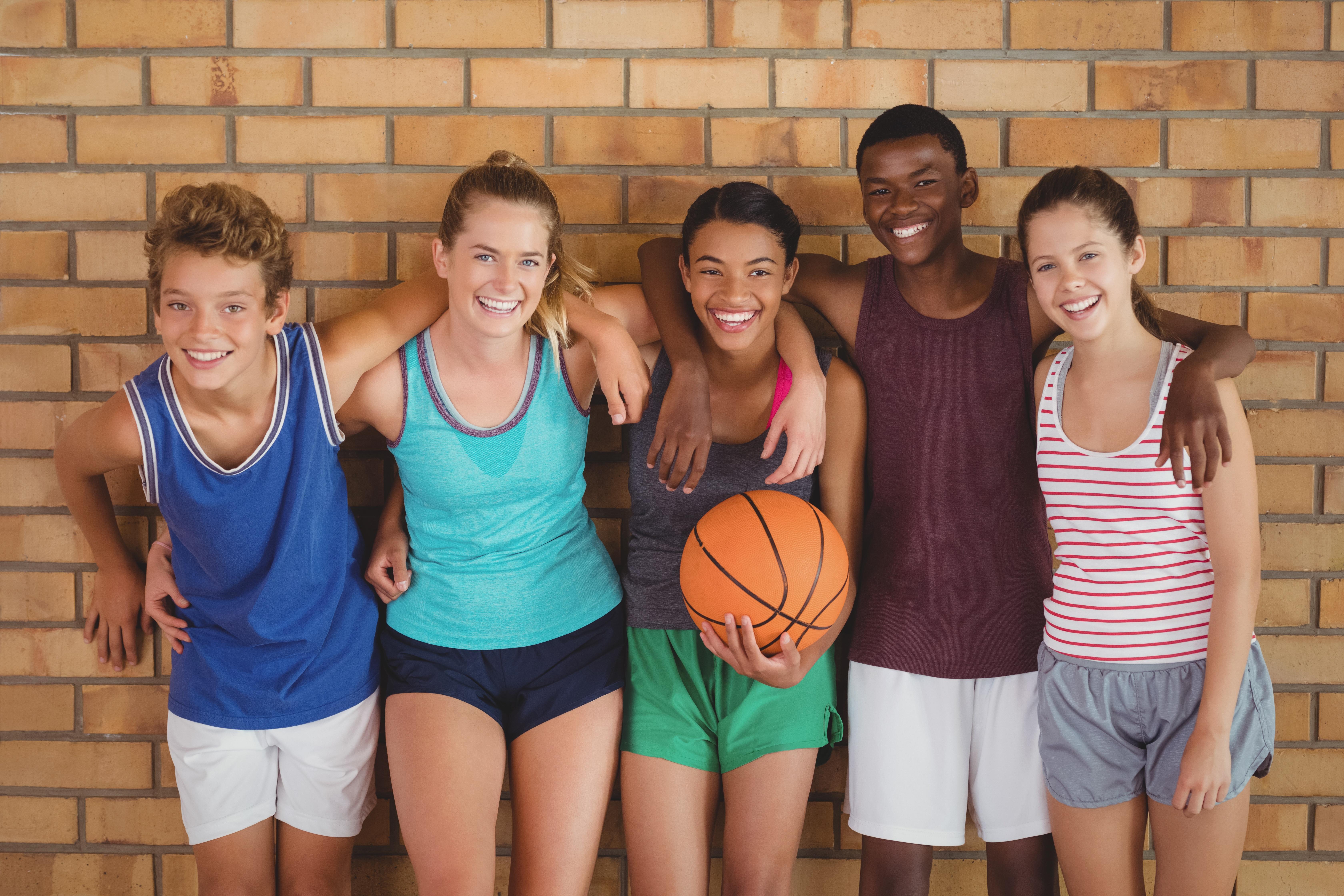 Kids with basketball