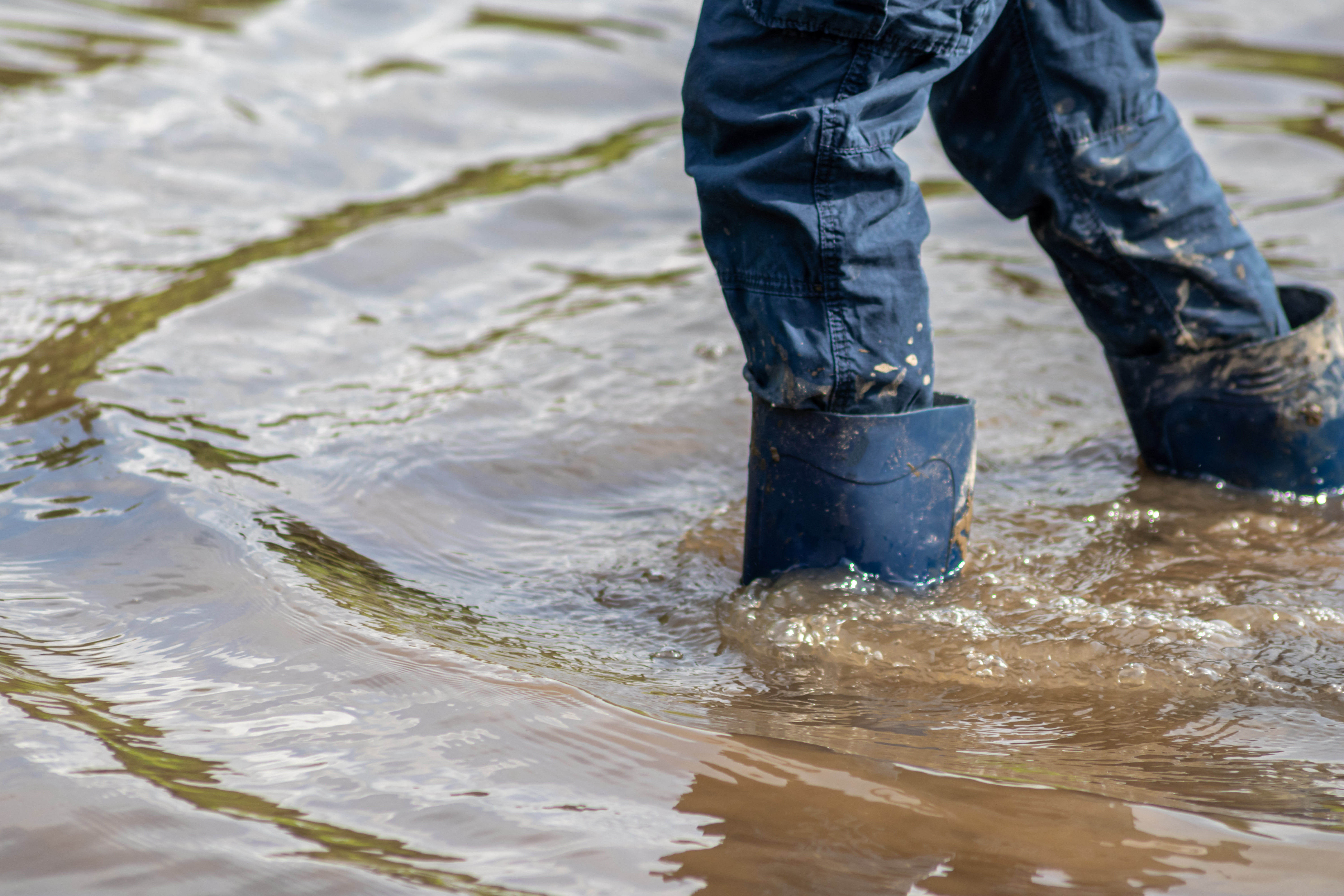 child's feet wading in water