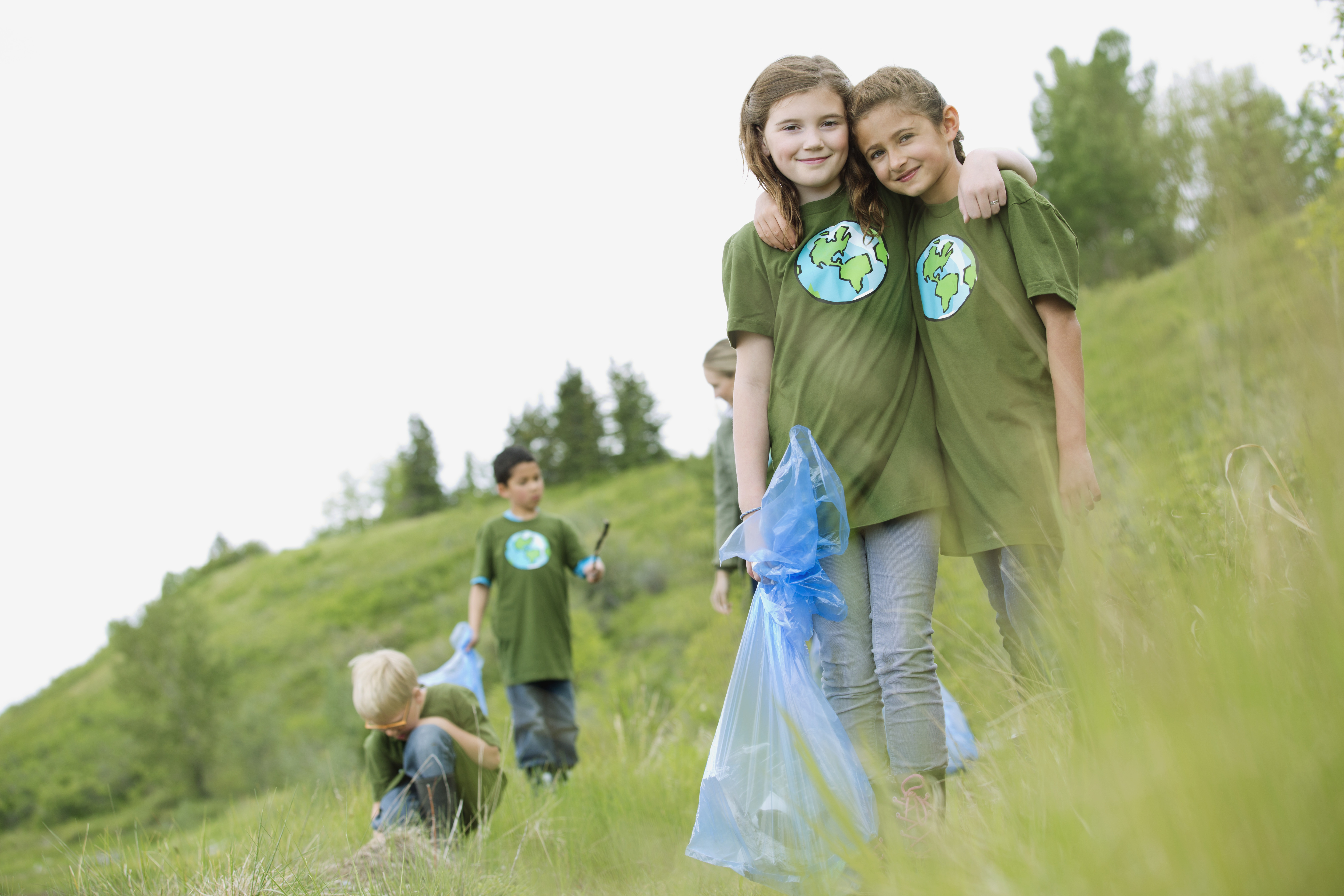 kids at a park clean-up