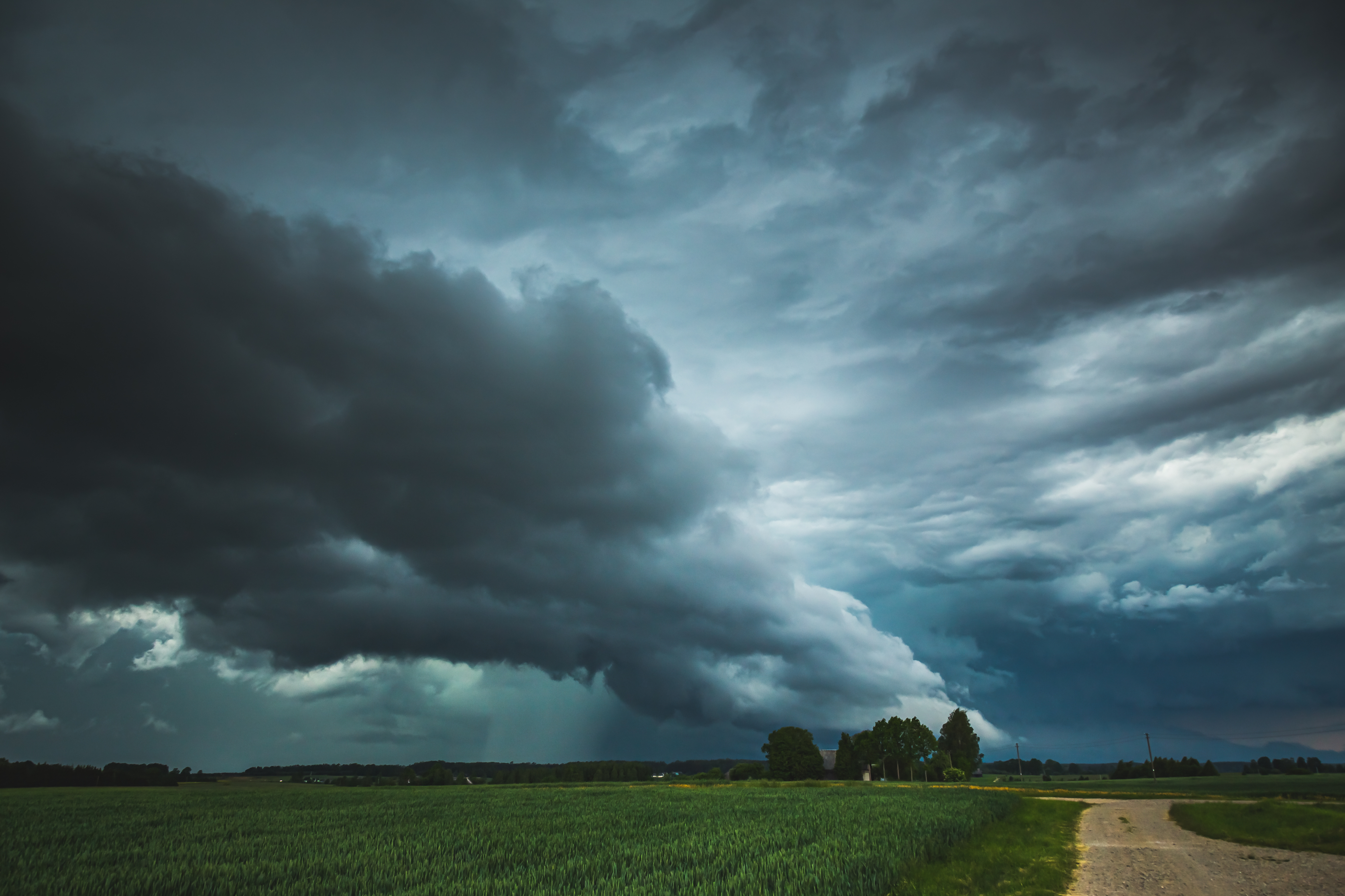 storm on the horizon of a rural landscape