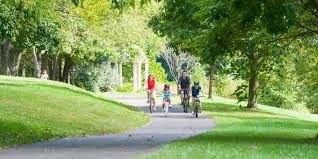 Family on bikes in a park